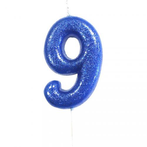 Bougie Bleu Glitter Chiffre 9 (7 cm)