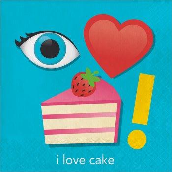 """16 Serviettes rébus """"I Love Cake"""""""