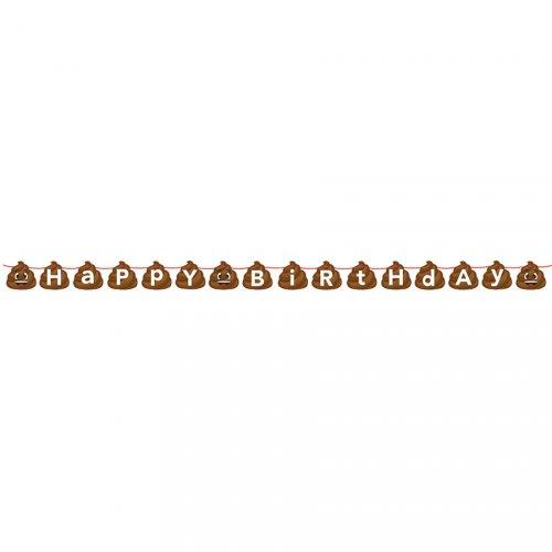 Guirlande Happy Birthday Emoji Caca (1,67 m)