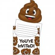 8 invitations Emoji Caca