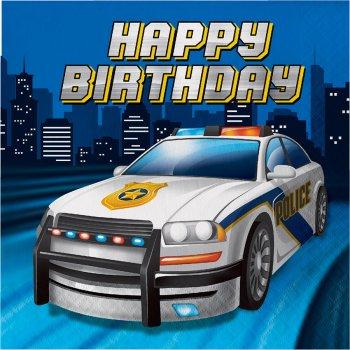16 Serviettes Happy Birthday Police Patrouille