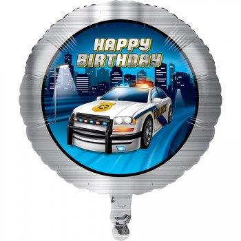 Ballon à plat Happy Birthday Police Patrouille