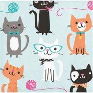 16 Petites Serviettes Chat Chic
