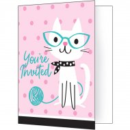 8 invitations Chat Chic