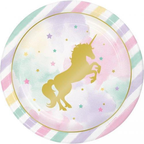 8 Assiettes Licorne Rainbow Pastel