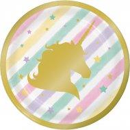 8 Petites Assiettes Licorne Rainbow Pastel