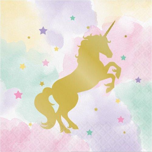 16 Serviettes Licorne Rainbow Pastel