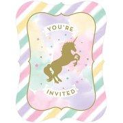 8 invitations Licorne Rainbow Pastel