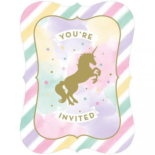 8 invitations Licorne Rainbow Pastel