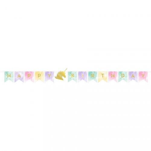 Guirlande Happy Birthday Licorne Rainbow Pastel (1,67 m)