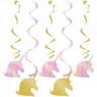 5 Guirlandes Spirales Licorne Rainbow Pastel