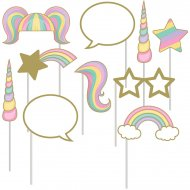 Kit 10 Photo Booth Licorne Rainbow Pastel