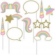 Kit 10 Photo Booth Licorne Rainbow Pastel