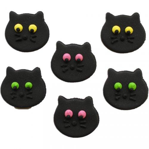 6 Chats noir à plat (3 cm) - Sucre