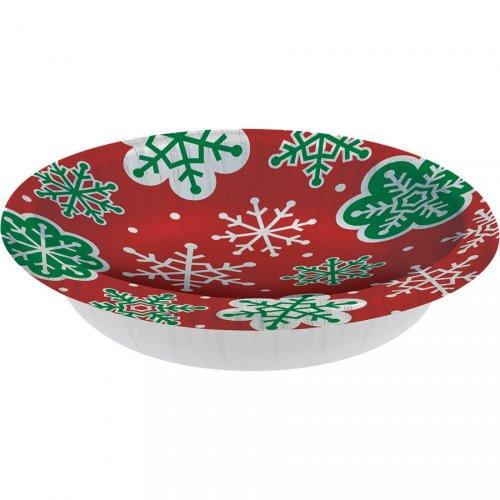8 Assiettes Bols Flocons Rouge et Vert (18 cm)