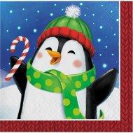 16 Petites Serviettes Bonhomme et Pingouin
