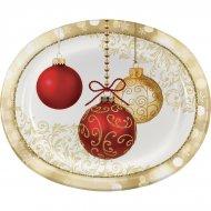 8 Grandes Assiettes Ovales Noël Elégance (30 cm)