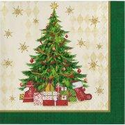 16 Petites Serviettes Sapin de Noël