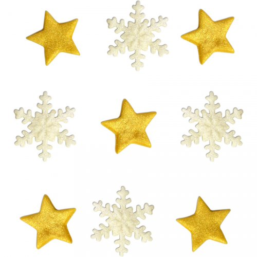 9 Décors Etoiles et Flocons (2,3 cm) - Sucre