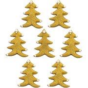 7 Décors Sapins Or (3 cm) - Sucre
