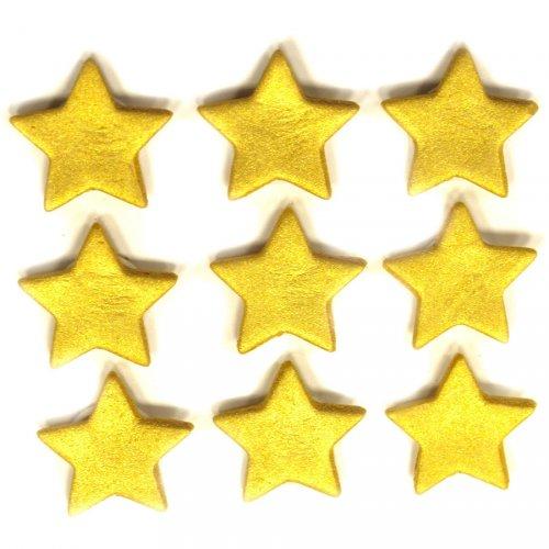 9 Décors Etoiles Or (2,5 cm) - Sucre