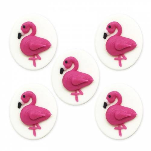 5 Flamants Roses 2D (4 cm) - Sucre