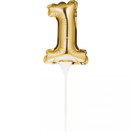 Pic à Gâteau Ballon Or chiffre 1