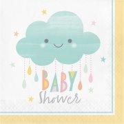 16 Serviettes Nuages Baby Shower