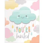 8 invitations Nuages Baby