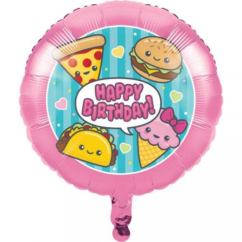 Ballon à plat Kawaïï Food Happy Birthday