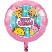Ballon Gonflé à l'Hélium Kawaïï Food Happy Birthday