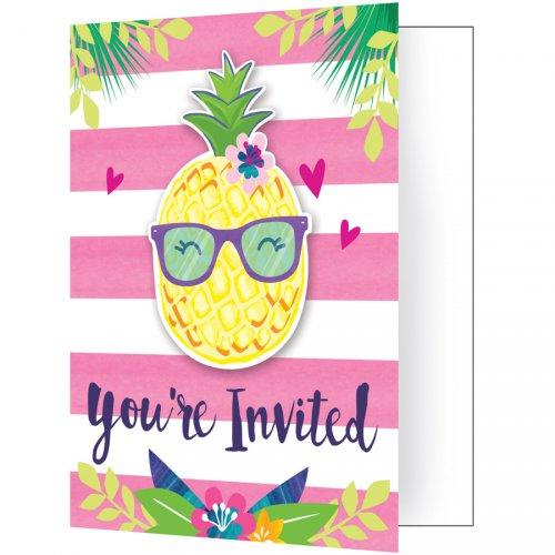 8 invitations Ananas Party