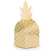 8 Boites Cadeaux Ananas Or (18 cm)