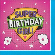 16 Serviettes Super Birthday Girl