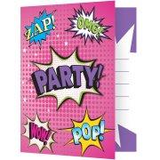 8 invitations Super Birthday Girl Party