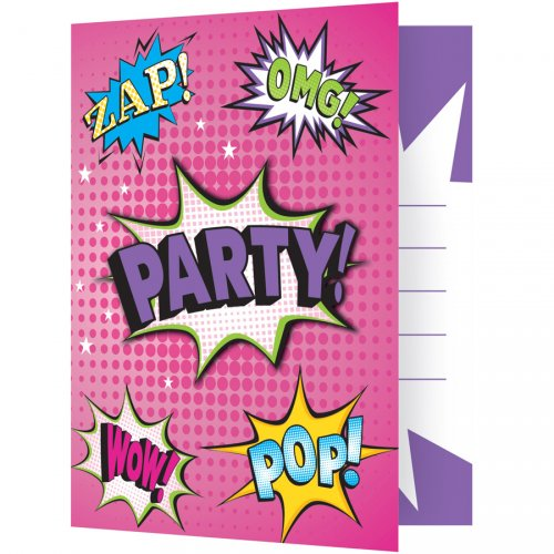 8 invitations Super Birthday Girl Party