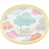 8 Maxi Assiettes Nuages Baby Shower