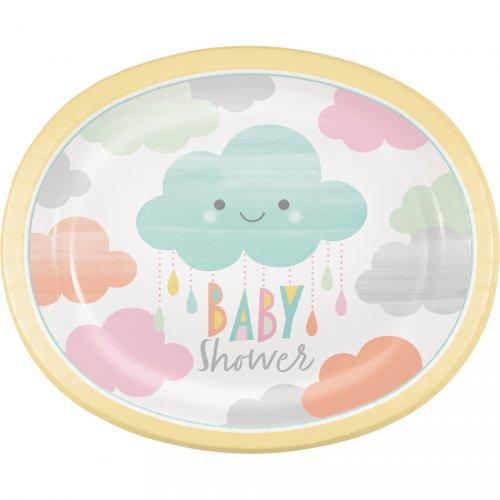8 Maxi Assiettes Nuages Baby Shower