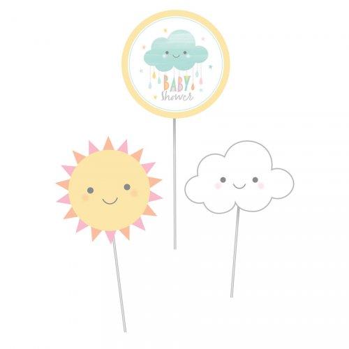 3 Déco sur Tiges Nuages Baby Shower