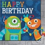 16 Serviettes Happy Birthday Robot Party