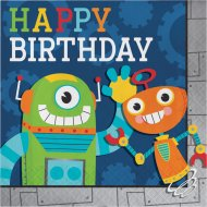 16 Serviettes Happy Birthday Robot Party