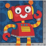 16 Petites Serviettes Robot Party