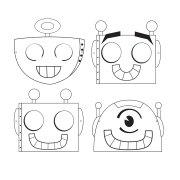 12 Masques à Colorier Robot Party