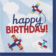 16 Serviettes Happy Birthday Avion Compagnie