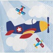 16 Petites Serviettes Avion Compagnie
