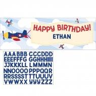Bannière Personnalisable Happy Birthday Avion Compagnie