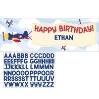Contient : 1 x Bannière Personnalisable Happy Birthday Avion Compagnie
