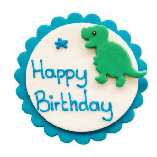 Plaquette Décor Happy Birthday Dino - Sucre