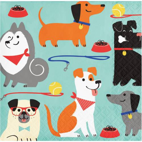 16 Petites Serviettes Dog Party
