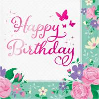 Contient : 1 x 16 Serviettes Happy Birthday Fée Florale